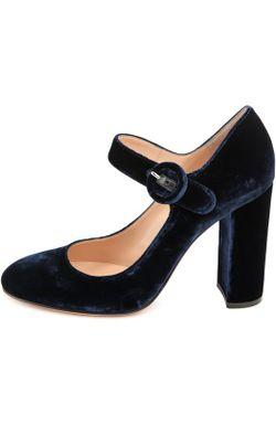 Бархатные Туфли Lorraine На Устойчивом Каблуке Gianvito Rossi                                                                                                              синий цвет
