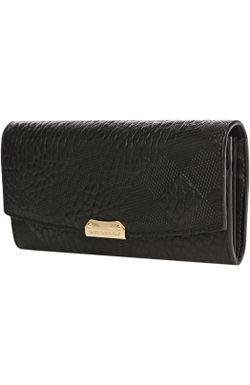 Кожаный Бумажник С Тиснением В Клетку Burberry                                                                                                              чёрный цвет