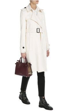 Кашемировое Пальто С Поясом Burberry                                                                                                              белый цвет