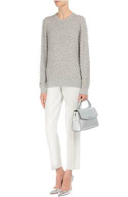 Кашемировый Пуловер С Отделкой Стразами Michael Kors                                                                                                              серый цвет