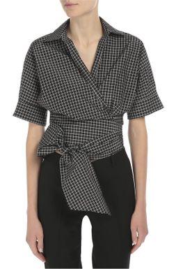 Укороченная Хлопковая Блуза С Поясом Michael Kors                                                                                                              белый цвет