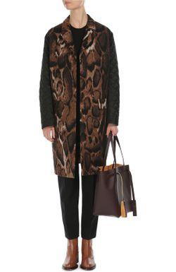 Пальто Прямого Кроя С Принтом И Стеганым Dries Van Noten                                                                                                              бежевый цвет