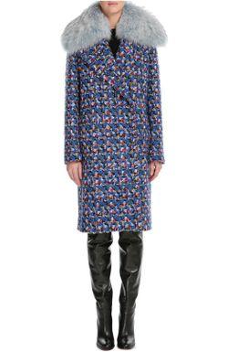Шерстяное Пальто С Воротником Из Меха Енота Emilio Pucci                                                                                                              синий цвет