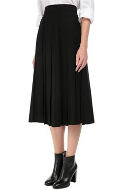 Шерстяная Юбка Миди Со Складками Valentino                                                                                                              чёрный цвет