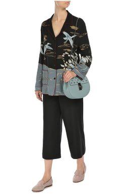 Шелковая Блуза В Пижамном Стиле С Вышивкой Valentino                                                                                                              голубой цвет