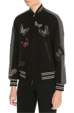 Куртка-Бомбер С Вышивкой Бисером Valentino                                                                                                              чёрный цвет