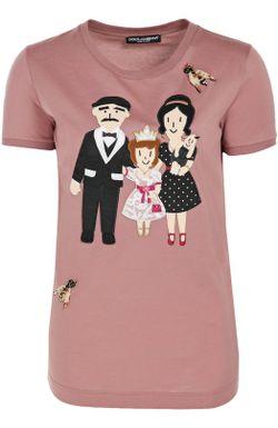 Футболка Прямого Кроя С Аппликацией Dg Family Dolce & Gabbana                                                                                                              розовый цвет