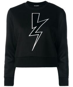 Neil Barrett   Lightning Bolt Cropped Sweatshirt Small Viscose/Polyurethane/Cotton