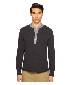 TODD SNYDER | Classic Chambray Henley Dark Charcoal Mix Mens Clothing