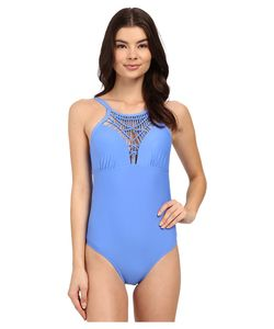 Athena | Cabana Solids High Neck One-Piece Corn Flower Womens Swimsuits