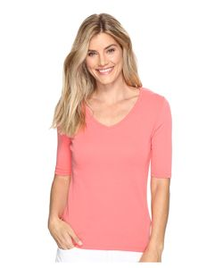 LILLA P | Elbow Sleeve V-Neck Punch Womens Clothing