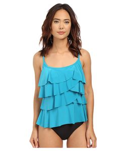 Miraclesuit | Pin Point Tiering Up Tankini Top Lagoon Solid Womens