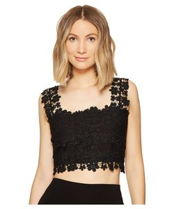 Nicole Miller | Alexa Crochet Lace Crop Top Womens Clothing