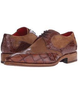 Jeffery west   Arrow Gibson Missouri Tan Croco/Cognac Suede Mens Shoes