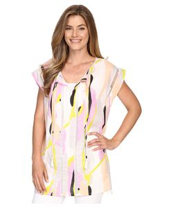 LILLA P | Woven Cotton Voile Caftan Swirl Print Womens Clothing
