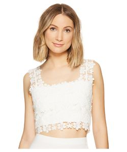 Nicole Miller | Alexa Crochet Lace Crop Top Ivory Womens Clothing