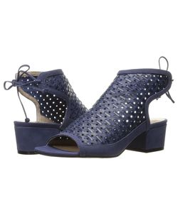 Nina | Vance Navy Perforated Woven Leather Womens Sandals