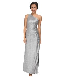Laundry By Shelli Segal | Whirpool Foil Knit One Shoulder Gown