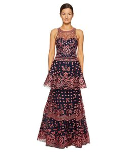 Marchesa Notte | All Over Embroidered Dress W Two Tiered Skirt