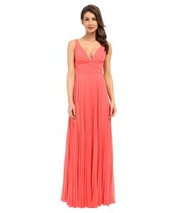 Laundry By Shelli Segal | Pleated Chiffon Open Back Gown Calypso