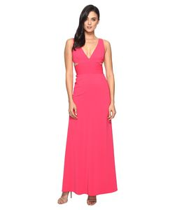 Laundry By Shelli Segal | V-Neck Gown W Cut Outs Raspberry