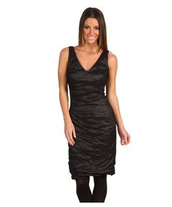 Nicole Miller | V-Neck Tucked Techno Metal Dress Womens Dress