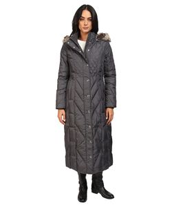 LONDON FOG   Mix Quilted Maxi Coat With Fur Hood Slate