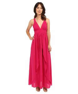 Adelyn Rae | Woven Maxi Dress W Open Back Magenta Womens