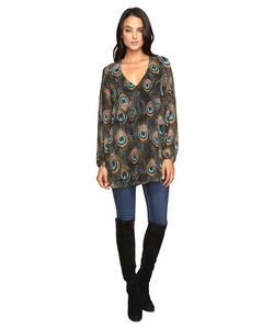 Show Me Your Mumu   Donna Michelle Tunic Feather Fans Womens