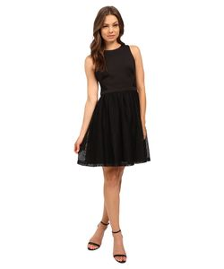 Jessica Simpson   Solid Fit Flare Dress With Lace Skirt Js6d8661