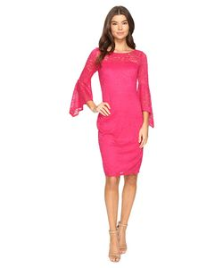 Laundry By Shelli Segal | Bell Sleeve Lace Cocktail Dress Raspberry