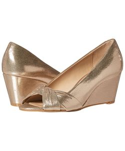 Nina | Edelia Taupe Refletive Suedette Womens Wedge Shoes