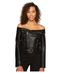 ROMEO & JULIET COUTURE | Romeo Amp Juliet Couture Off Shoulder Pu Rider Jacket