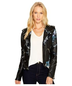 BLANKNYC | Vegan Leather Moto Graphic Studded Jacket In
