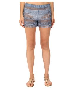 Queen & Pawn | Queen Amp Pawn Marathi Lace Vintage-Dyed Beach Shorts Indigo Womens
