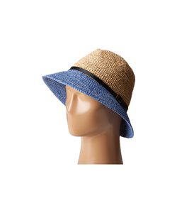 Scala | Crochet Raffia Six-Way Fedora Denium Fedora Hats