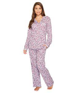 Eileen West | Peached Jersey Notch Collar Pajamas Ground/Plum Multi