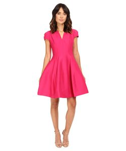 Halston Heritage   Short Sleeve Notch Neck Dress With Tulip Skirt