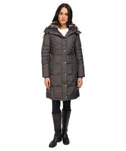 LONDON FOG   Quiled Puffer With Fur Collar Gunmetal Womens Coat