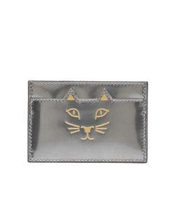 Charlotte Olympia | Визитница Из Металлизированной Кожи Feline Card Holder