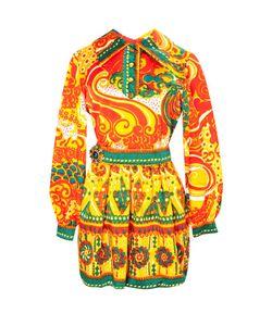 OSCAR DE LA RENTA VINTAGE | Шелковое Яркое Платье С Принтом 70-Е Гг.
