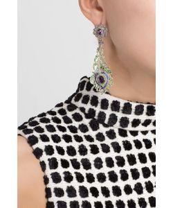 Axenoff Jewellery | Серебряные Серьги С Сапфирами Аметистами И Зелеными Агатами Перо Павлина