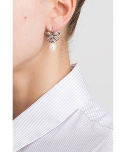 Axenoff Jewellery | Серебряные Серьги С Жемчугом И Бесцветными Топазами Бантики
