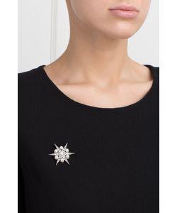 Axenoff Jewellery | Серебряная Брошь С Жемчугом И Бесцветными Топазами Звезда