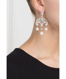 Axenoff Jewellery | Серебряные Серьги С Жемчугом Голубыми И Бесцветными Топазами Принцесса Ирина