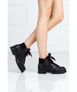 AGL   Кожаные Ботинки С Кристаллами