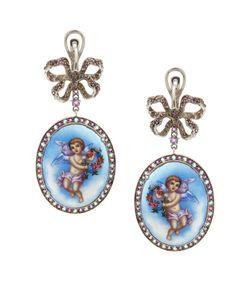Axenoff Jewellery | Серебряные Серьги Ангелы С Аметистами И Голубыми Топазами