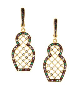 Axenoff Jewellery | Серебряные Серьги Матрешка С Зелеными Агатами