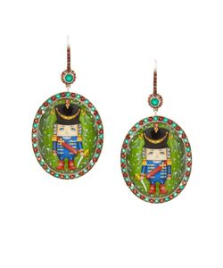 Axenoff Jewellery | Серебряные Серьги Щелкунчик С Голубыми Топазами И Гранатами