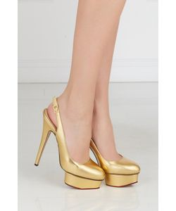 Charlotte Olympia | Туфли Из Металлизированной Кожи Dolly Slingback Covered P